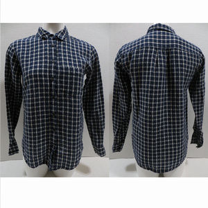 Broadway & Broome top XS plaid button up oxford